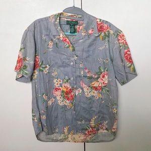 Vintage Ralph Lauren Slate Blue Floral Button Up